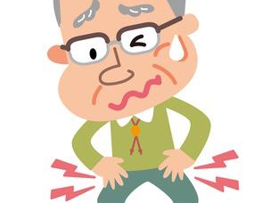 股関節痛に悩む高齢者の男性